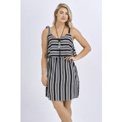 Babicoco Black Striped Square Neck Summer Dress