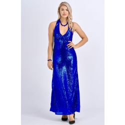 Babicoco V Neck Blue Sleeveless Backless Slit Maxi Dress for Evening/Party