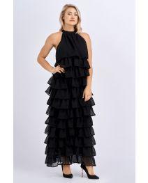 Babicoco Layered Fringe Black Long Halterneck Dress