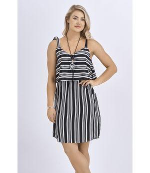 Babicoco Black Striped Square Neck Summer Dress