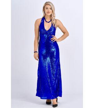 Babicoco V Neck Blue Sleeveless Backless Slit Maxi Dress for Evening/Party