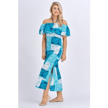 Babicoco Floral Print Off Shoulder Cotton Split leg maxi dress