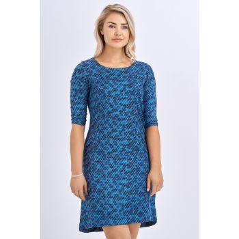 Babicoco Slim fit Round Neck Split Back Blue Midi Dress