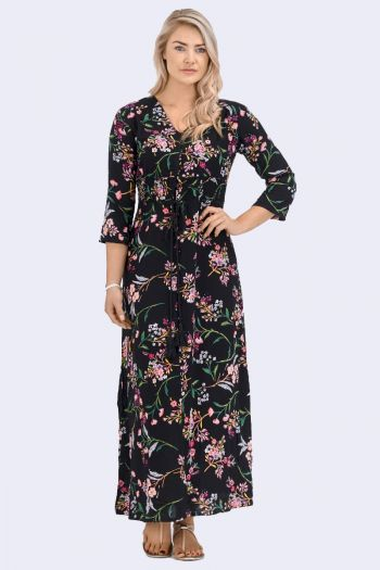Babicoco V-neck Floral Print Split Leg Dress for casual wear