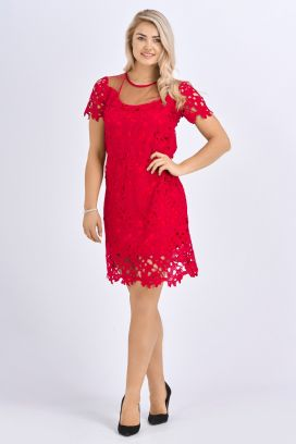 Babicoco Red Lace Mini dress with transparent neck, double layer style and short sleeve for party wear
