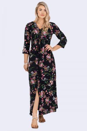 Babicoco V-neck Floral Print Split Leg Dress for casual wear