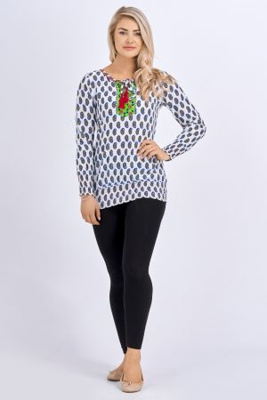 Babicoco Round Neck Cotton Long Sleeve Paisley Top