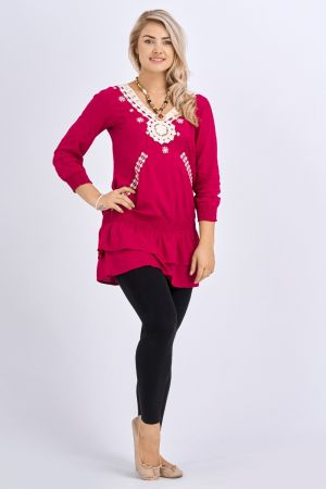 Babicoco V-Neck Maroon Embroidery Top