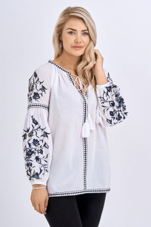 Babicoco White Embroidered Tie Neck Top