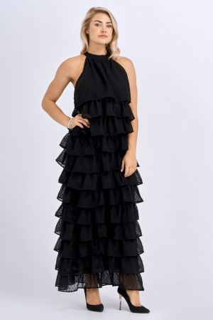 Babicoco Layered Fringe Black Long Halterneck Dress
