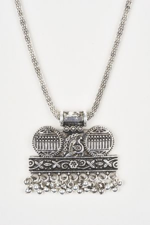 Babicoco Antique jewellery Oxidised/German Silver Peacock Necklace Set