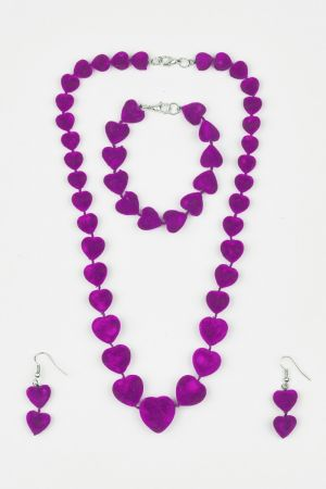Babicoco Maroon Velvet Acrylic Beads Necklace, Earrings & Bracelet Set
