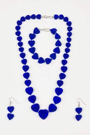 Babicoco Blue Velvet Acrylic Beads Necklace, Earrings & Bracelet Set