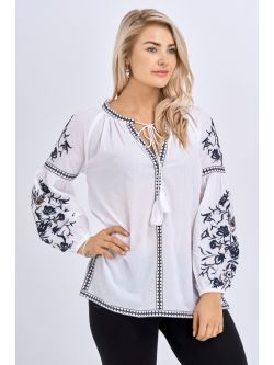 Babicoco White Embroidered Tie Neck Top